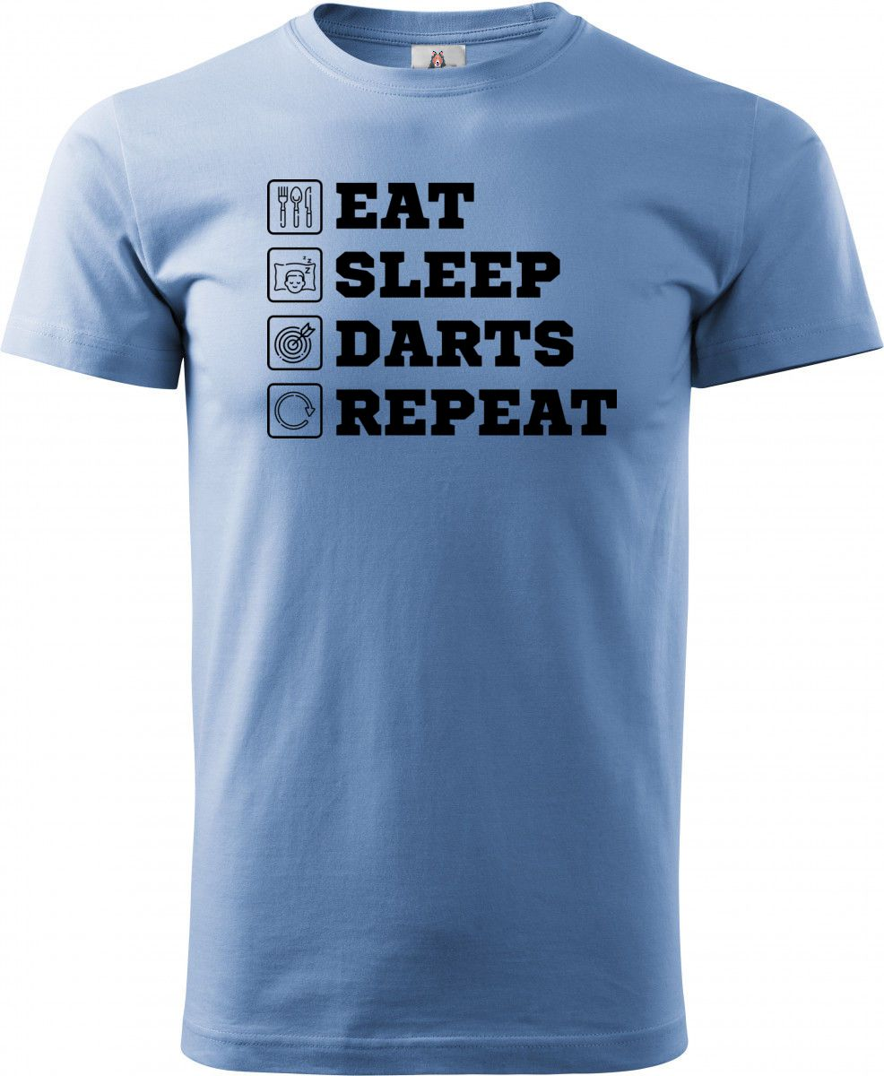 Eat, sleep, darts, repeat. Černý tisk