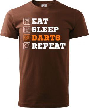Eat, sleep, darts, repeat. Bílý a oranžový tisk