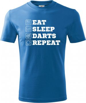 Eat, sleep, darts, repeat. Bílý tisk