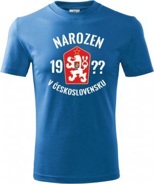 Tričko Narozen v Československu - doplňte ročník, bílý text