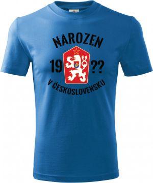 Tričko Narozen v Československu - doplňte ročník, černý text